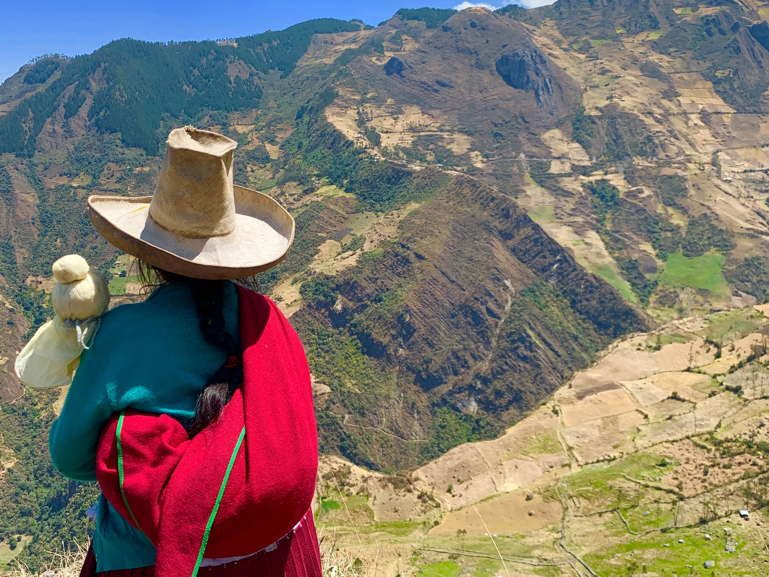 Organic smallholder farmer looking at mountains in Latin America